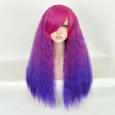EMO CHIC MULTI COLOR LONG KINKY WATER WAVE PURPLE NO LACE WIGS AFRO