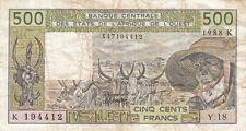 AFRIQUE DE L'OUEST SENEGAL K 500 frs 1988 état voir scan 412