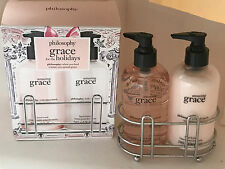 NEW ARRIVAL! PHILOSOPHY AMAZING GRACE HAND WASH & LOTION W/SILVER SINK CADDY SET