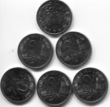 SIX BRAZILIAN TWO CENTAVOS KM#586 UNCIRCULATED 1975 COINS