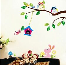 Multi-Color Owls House Tree Branches Wall Sticker PVC Decals Baby Room Decor DIY