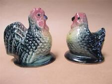 Salt and pepper shakers, hen and rooster, ceramic, Darbyshire Pottery, Australia