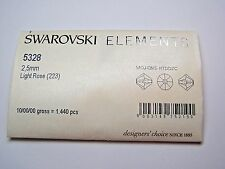 1,440 PIECES SWAROVSKI CRYSTAL BEADS #5328 2.5MM BICONE- LIGHT ROSE - PACKAGE