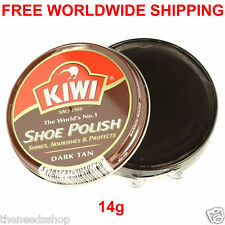 KIWI DARK TAN SHOE WAX POLISH BROWN Shines Nourishes Protects 14g for Leather