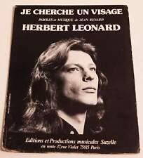 Partition vintage sheet music HERBERT LEONARD : Je Cherche un Visage * 70's