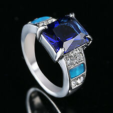 Blue Fire Opal sapphire & Zircon Lady's Silver Plated wedding Ring Size 8 OP42