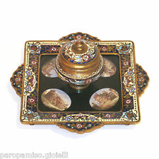 French Inkpot, 2nd half of 19th c., with Roman Micro Mosaics     (0529)