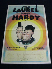 LAUREL AND HARDY STOCK R-1940's * HAL ROACH * FILM CLASSICS ONE SHEET * RARE!!