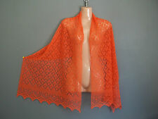 Stunning 100% pure cashmere lace shawl/scarf.  col. Orange