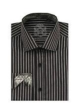 New Men's Unique Casual Fashionable Stripe Dress Shirt Black/White Size 15~20