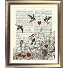 Impresión de arte en Original Antiguo Libro página Aves Love Corazones Vintage upcycled