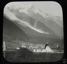 Glass Magic lantern slide CHAMONIX WITH MONT BLANC IN DISTANCE C1910 FRANCE L16