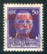 1944 Italia RSI 50 cent. tiratura Milano usato spl siglato