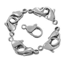 10PCs Stainless Steel Lobster Clasps Silver Tone 12x7mm