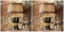 TWO WESTERN INDIAN DESIGN STYLE TABLE LAMP RICH LEATHER LOOKING SHADE DESK LIGHT