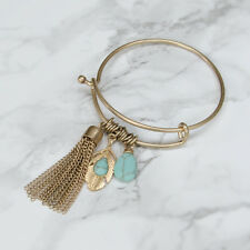 Gold Charm Bangle Bracelet Boho Tassel Turquoise Stone | 70% OFF + FREE SHIPPING