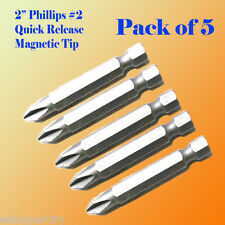 "5x 2"" Phillips #2 Screw Driver Bit Quick Release 1/4 Hex Shank Magnetic Tip PH2"
