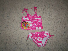 NEW GIRLS NICKELODEON PINK TWO PIECE DORA SWIMSUIT SIZE 12 MOS