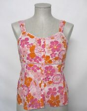 ST. JOHN'S BAY Sz M Pink Orange Floral Sleeveless Cotton Buttoned Down Top