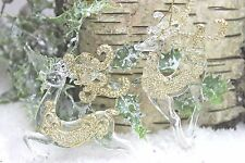 GISELA GRAHAM CHRISTMAS CLEAR ACRYLIC GOLD GLITTER REINDEER DECORATION X 2