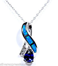"""18"""" Necklace with 925 Sterling Silver Tanzanite & Blue Fire Opal Inlay Pendant"""