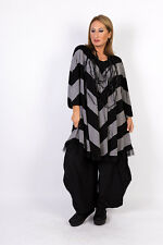 Chalona: stylishes Big-Shirt/Tunika grau/schwarz Tüll-Saum one size 44 - 54