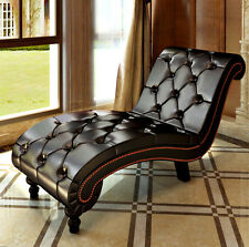 Chaise Lounge Furniture Lounger Chair Indoor Recliner Modern Button Tufted Brown