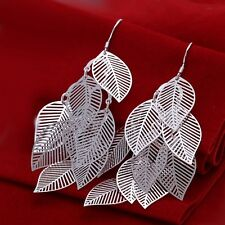New Women 925 Sterling Silver Plated Stylish Hollow Leaf Dangle Studs Earrings