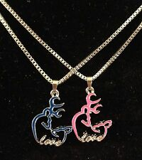 His Her Buckmark Love Necklaces 2 PC Set NEW! Browning Deer Blue Pink Country