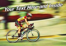 Personalizado Ciclismo Bicicleta Bici Cumpleaños Padres día cualquier ocasión Tarjeta + Insertar