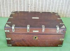ANTIQUE WOOD WRITING TRAVEL DESK DOCUMENT CASE & DOUBLE INKWELL STORAGE BOX