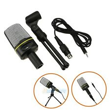 New Black MINI 3.5MM Studio Speech Microphone MIC with Stand Mount for PC