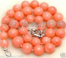 Genuine Natural 10mm Coral Pink Shell Pearl Gems Beads Knotted Necklace Jewelry
