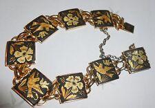 Superb Vintage 1960'S Spanish Damascene Gold & Black Bracelet, Renaissance Motif