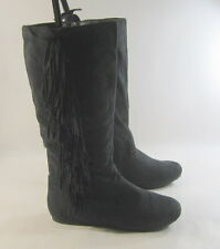 Blacks flat comfortable faux suede frill  the side sexy mid-calf boot size 5.5 p