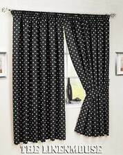 BARGAIN BLACK  66 x 72  UNLINED Pencil Pleat CURTAINS NICE QUALITY PAIR.Save ££s