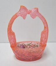 "Vintage Pink 1950s 6"" Rosbro Easter Bunny Plastic Candy Container Basket"