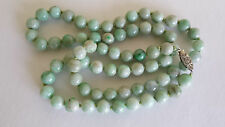 Antique Art Deco Genuine Green Jade Bead Necklace w. 14K Diamond Filigree Clasp