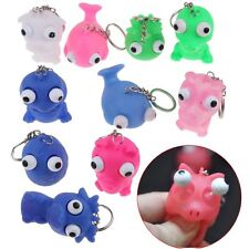 2x Cute Animal Silicone Squeeze Funny Toys Pop Out Eyes Stress Keychain Keyring
