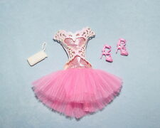 SWEET! Pink & White Genuine BARBIE Dress w/ Full Skirt Clothes w/ Heels & Purse