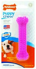 Nylabone Puppy Chew Teething Soft Bone Chicken Flavored Dog Toy Petite Pink