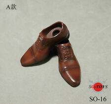 SO-TOYS SO-16 1/6 Scale Male Man Shoes Brown Leather Shoes F Removable Feet