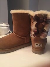 UGG Australia Bailey Bow Mini Chestnut Brown Fur Boots Womens 6