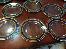 """Set of 6 clear glass salad/dessert dishes 8 1/2"""" - blue-gold band -"""