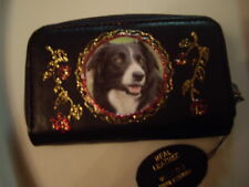 NEW BLACK LEATHER GORGEOUS BORDER COLLIE   PICTURE PURSE /WALLET