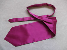 NEW MENS SILKY RUCHE SINGLE END SELF TIE CRAVAT FORMAL WEDDING ASCOT HOT PINK