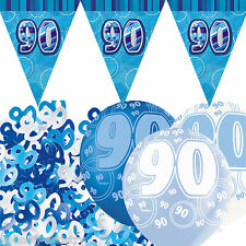 Blue Silver Glitz 90th Birthday Flag Banner Party Decoration Pack Kit Set