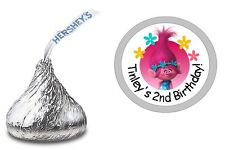 108 POPPY TROLLS PERSONALIZED HERSHEY KISS LABELS STICKERS BIRTHDAY PARTY FAVORS