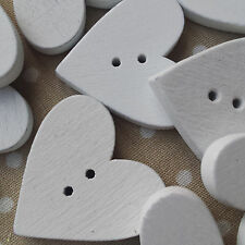 10 White Wooden Hearts Buttons. Wedding Bride Bridal Craft, Card making 2 Hole