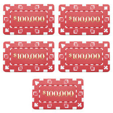 5 Ct Square Rectangular 32 Gram $100,000 Red Poker Plaques Square Chips